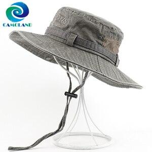 CAMOLAND haute qualité coton seau chapeau homme été UPF 50 + soleil chapeaux mode Bob Panama casquette mâle lavé Boonie pêche randonnée chapeau