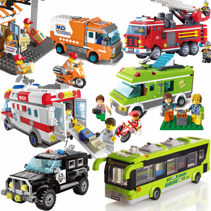 City Wrecker Police Sanitation Ice Cream Car Truck Building Blocks Sets Bricks Kids Toys City Friends Christmas Gifts