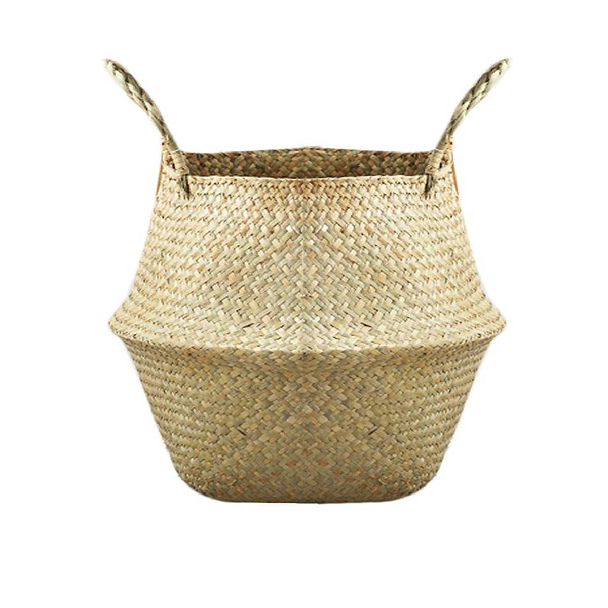 S/M/L/Rumah Tangga Lipat Rumput Laut Alami Woven Penyimpanan Taman Pot Vas Bunga Gantung Keranjang Penyimpanan Keranjang Rumah dekorasi