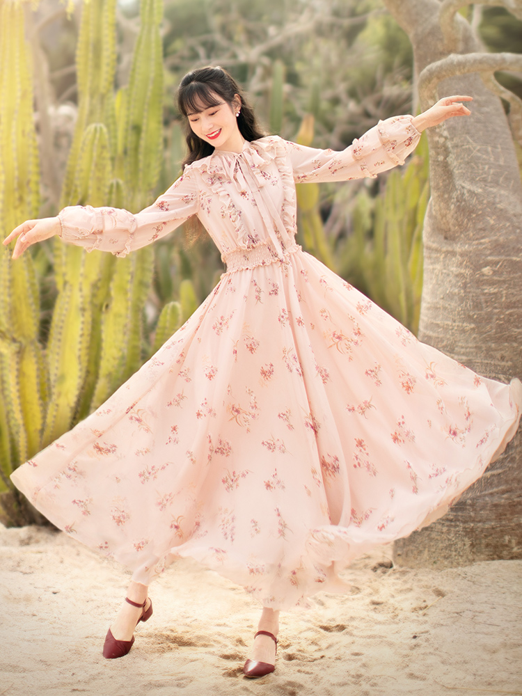 Free Shiping Boshow 2020 Fashion Women Long Maxi Lantern Sleeve Dresses Spring Summer Bohemian Pink Flower Ruffles Dress Chiffon