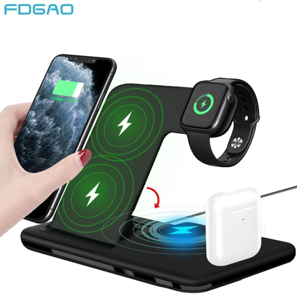 Беспроводное зарядное устройство Qi 4 в 1, 15 вт для iPhone 8 X XR XS 11 Pro Max 3 в 1, беспроводная зарядная станция для Apple Watch Airpods Pro