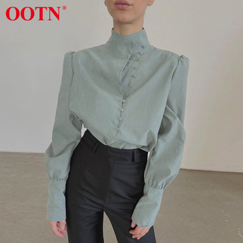 OOTN Elegant Turtleneck Blouse Long Sleeve White Shirt Office Ladies Top Casual Solid Single-Breasted Puff Sleeve Womens Blouses 2