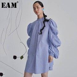 Женское плиссированное платье EAM, платье большого размера с воротником-стойкой и длинным рукавом-фонариком, весенне-летняя мода 2020 1W385