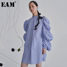 [EAM] Women Plaud Pleated Big Size Dress New Stand Collar Lo