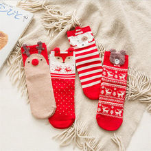 Christmas-Socks Cartoon Cute 1-Pair Winter Cotton Woman Elk And Elasticity Breathable
