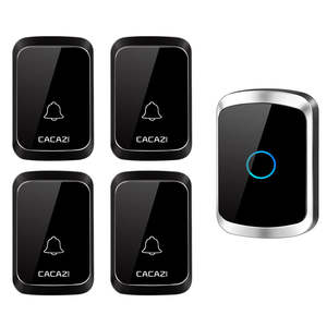 CACAZI Wireless Doorbell Waterproof Electronic Smart LED 300m 220V Range