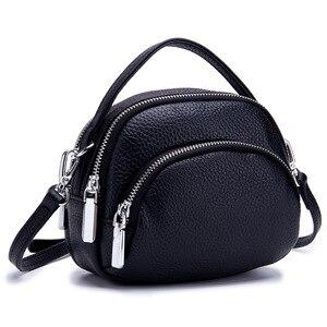 Image 2 - حقيبة ساعي الإناث جلد طبيعي السيدات حقائب كتف العلامة التجارية حقيبة يد نسائية صغيرة Damestas لصور السيدات لينة شكل قذيفة جديدة