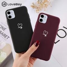Lovebay 아이폰 11 12 프로 X XR XS 맥스 5s SE 2020 6 6S 7 8 플러스 캔디 컬러 소프트 TPU 뒷 표지에 대한 다채로운 사랑의 하트 전화 케이스