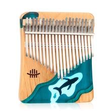 2021 21 Key Thumb Piano Solid Beech Epoxy Resin Portable Kalimba Mbira Sanza With Tuning Hammer Keyboard Musical Instrument