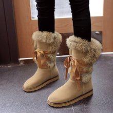 купить Women Boots Female winter boots Warmer Plush Bowtie Fur Suede Flat Slip On Ankle Snow Boots Women's Shoes Fashion Platform Black дешево