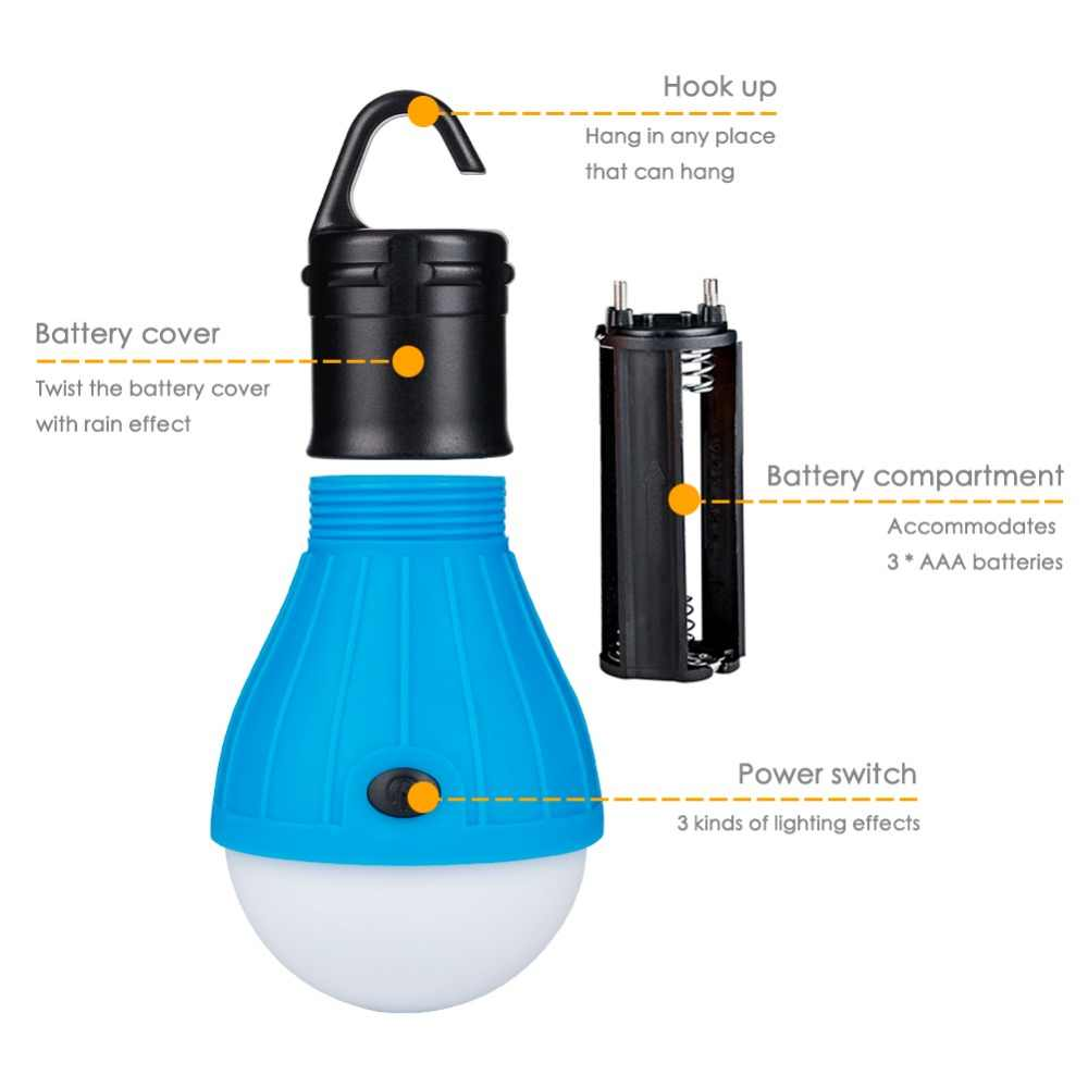 MINI แบบพกพาโคมไฟโคมไฟเต็นท์หลอดไฟ LED โคมไฟฉุกเฉินกันน้ำแขวน Hook ไฟฉายใช้ไฟ AAA ขนาด 3 *