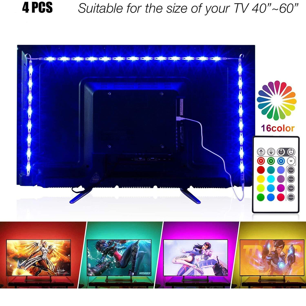 Music Led Strip Lights DC5V 2M/6.56ft For 40-60in TV, PANGTON VILLA USB LED TV Backlight Kit With Remote #