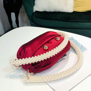 Image 4 - Pearl Handle Boston Handbag Women 2019 Autumn New Korean Handmade Pillow Nylon Red Tote Evening Clutch Bag Female Famous