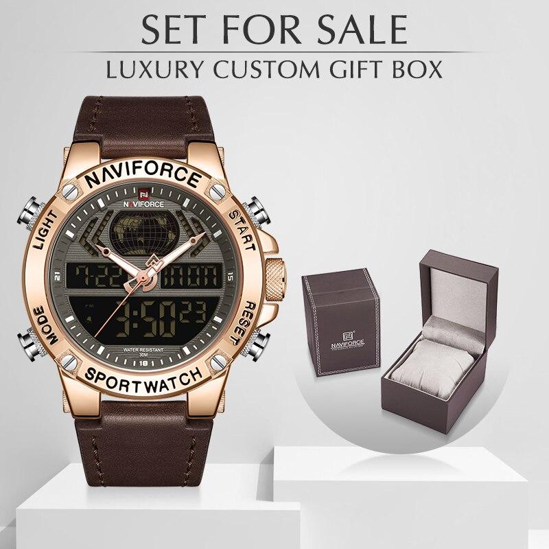 Men Watch NAVIFORCE Top Luxury Brand Leather Waterproof Sports Men's Watches Quartz Analog Watch Men Set For Sale