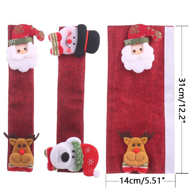4Pc/set Christmas Refrigerator Door Handle Cover Kitchen Microwave Oven Handle Covers 31*14cm enlarge