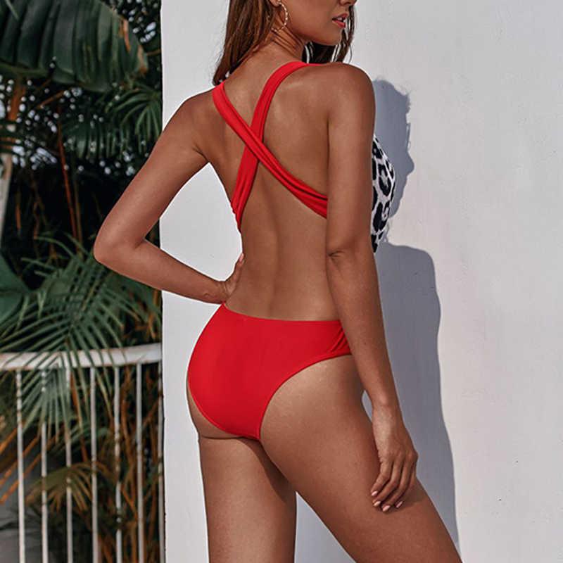 ليوبارد ملابس السباحة النساء مثير ملابس السباحة النسائية لباس سباحة حزام خصر عالية ثوب السباحة المرأة العميق الخامس رفع المايوه أحمر أسود