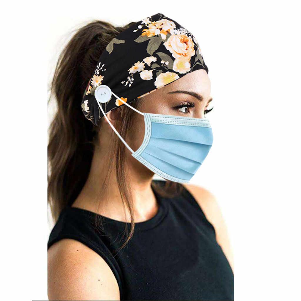 Wanita Ikat Kepala Tie-Dye Hairband dengan Tombol Wajah Pemegang Memakai Melindungi Telinga Kepala Membungkus Ikat Kepala Rambut Band Rambut Aksesoris