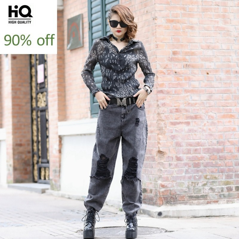 New Streetwear Women Two Piece Set Top And Pants Single Breasted Floral Printing Blouse Hole Ripped Harem Denim Pants Women Set