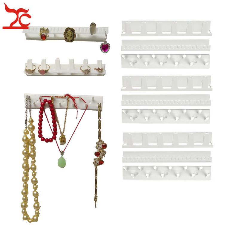 9Pcs/Lot White Plastic Jewelry Rack Earring Necklace Bracelet Organizer Wall Holder Sticky Hooks Sundries  Wall Hanger
