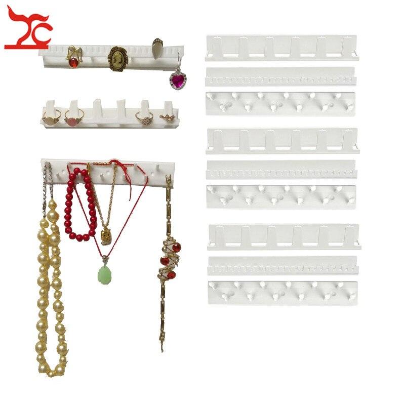 9Pcs/Lot White Plastic Jewelry Rack Earring Necklace Bracelet Organizer Wall Holder Sticky Hooks Sundries  Wall Hanger