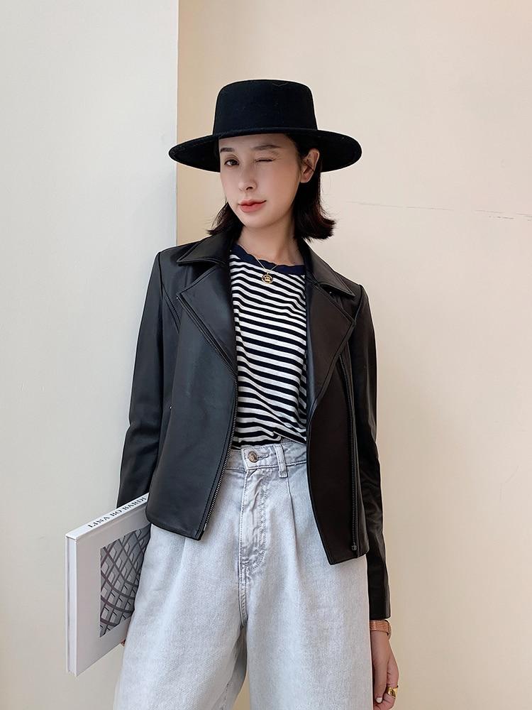 Sheepskin Real 100% Coat Female Streetwear Bomber Jackets Autumn Jacket Women Genuine Leather Jacket Chaqueta Mujer MY