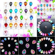 Colorful 7 sizes glass Crystal Silver claw Various colors mix water drop tear drop Sew on rhinestone beads wedding dress diy