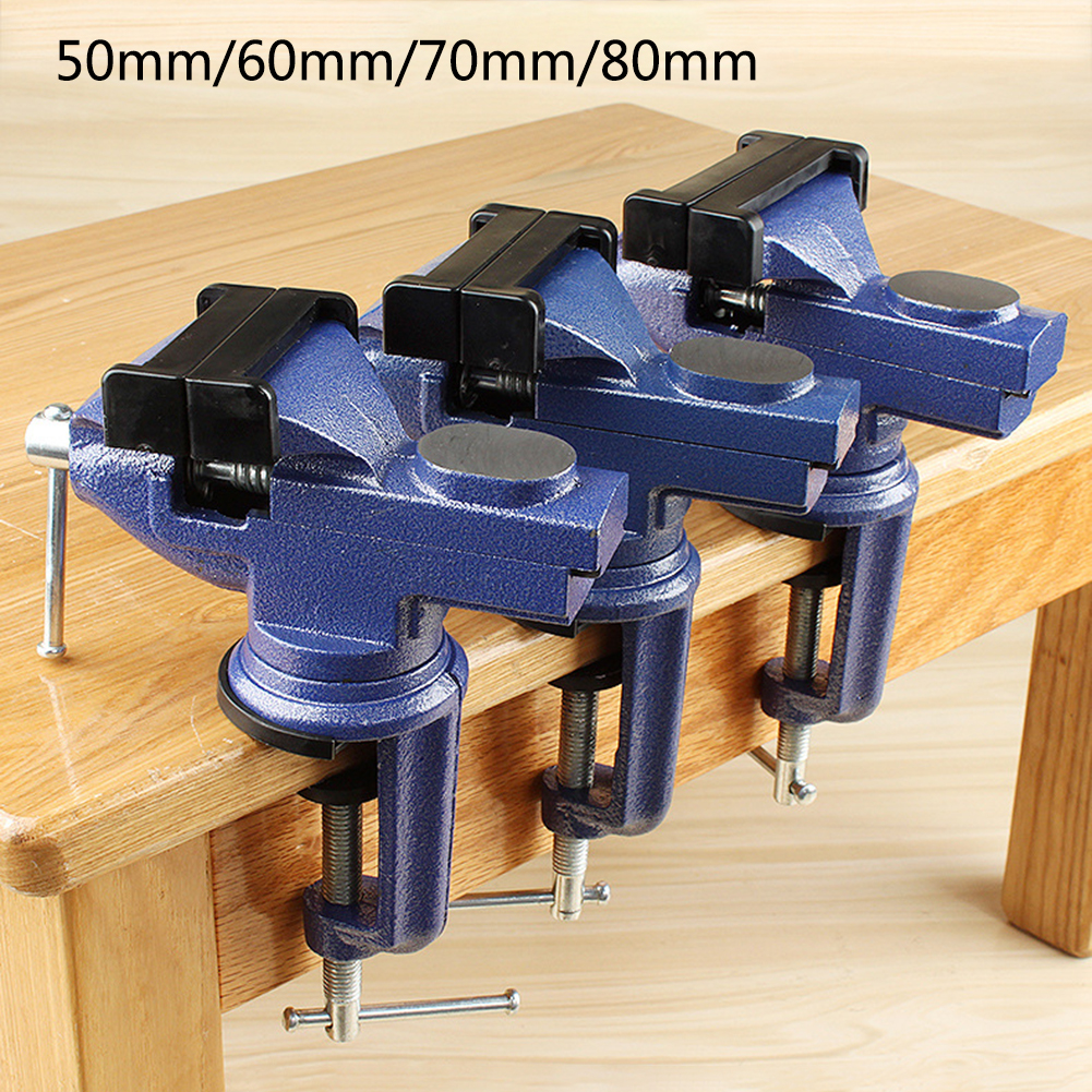 Bench Vise Jaw Width 60mm 360 Degree Swivel Cast Iron Tabletop Vice Multifunctional Heavy Clamp Non-slip Rubber Pad Accessories