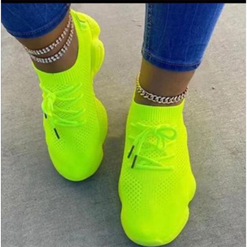 Socks Sneakers Women Vulcanized Woman Platform Chunky Shoes Ladies Casual Lace Up Fashion Female Flat Tennis Shoes Plus Size