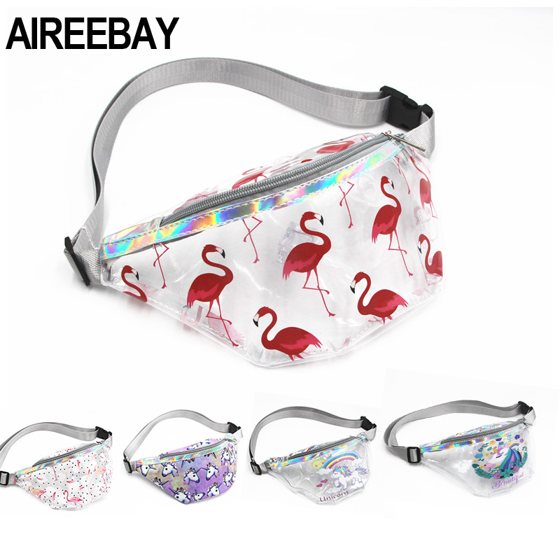 AIREEBAY Women Transparent Waist Bag Children PVC Flamingos Fanny Packs Young Girls Waterproof Chest Bag Kids Cute Hip Bum Bag