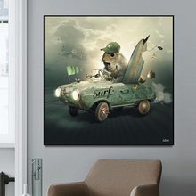 Canvas Painting Wall Art Print Poster Abstract Realism Squirrels In Cars Animal Painting Wall Pictures for Living Room Home Deco