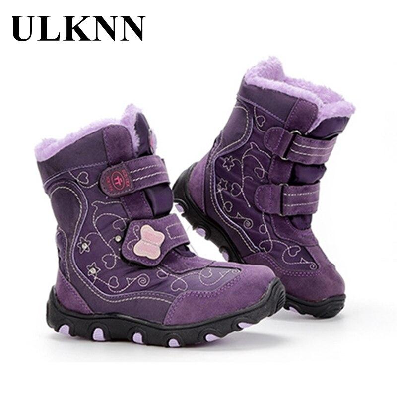 ULKNN Children's Winter Snow Boots For Baby Girl Shoes Kid's Boys Fashion Plus Velvet Warm Waterproof Non-slip Boot TPR Purple