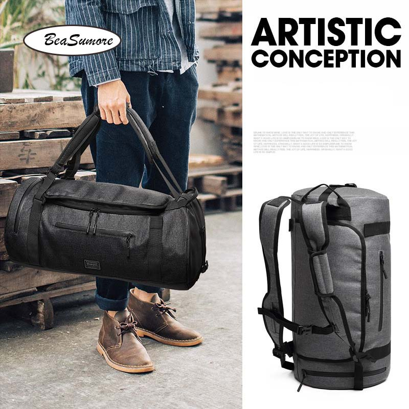 BeaSumore Men Multifunction Shoulder Backpack Short distance Travel Bag  High capacity Hand School Bag-in Backpacks from Luggage & Bags