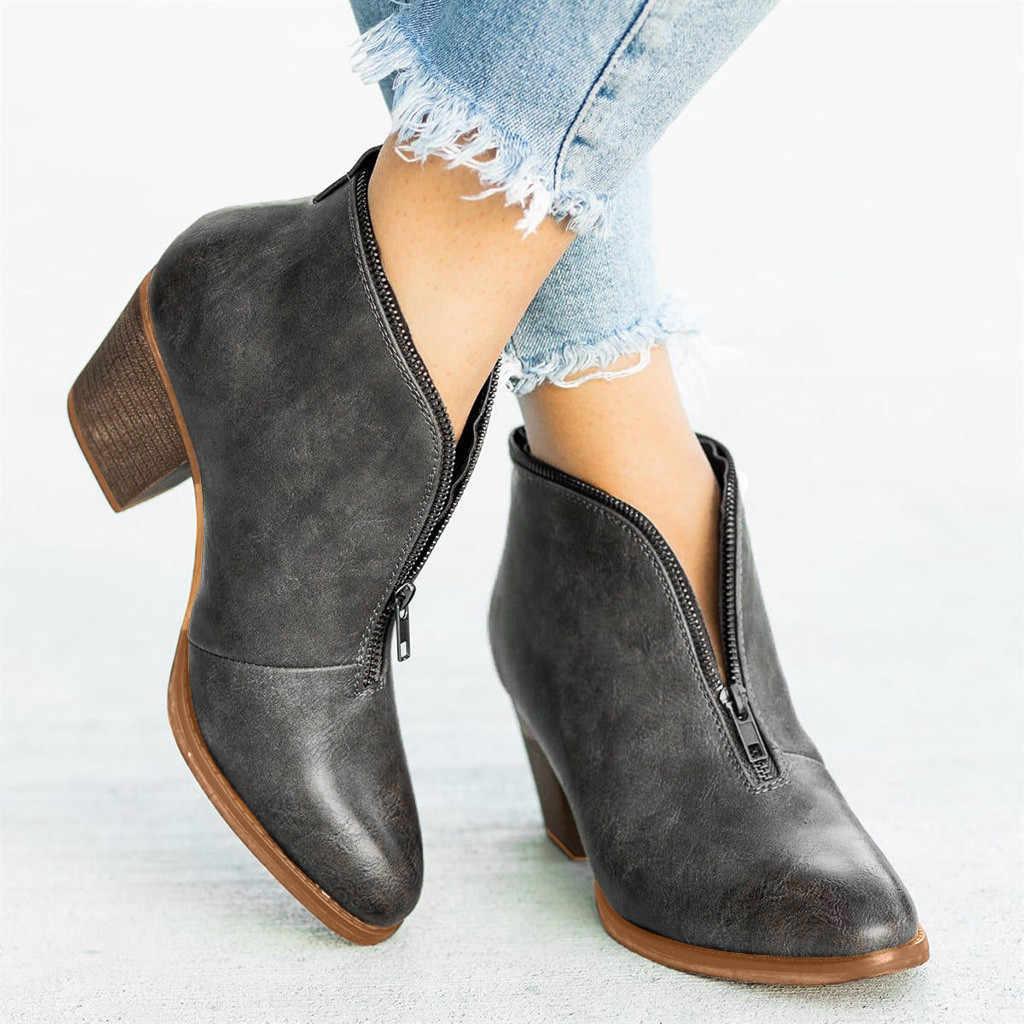 2019 sonbahar kış yeni kadın eğlence Retro roma büyük boy katı kare topuklu kısa bileğe kadar bot ayakkabı kovboy çizmeleri kadınlar # O13