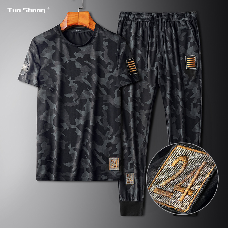 2020 Men Clothing Camouflage Sportswear Set Fitness Summer Thin Mens Track Suit Set 2 Pieces Casual Jogger Sets Plus Size 4XL