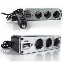 цена на Creative Car 3 Way Car Lighter Splitter Charger Power Adapter DC+USB 3 Port Plug 12V-24V splitter lighter cigarettee lighter