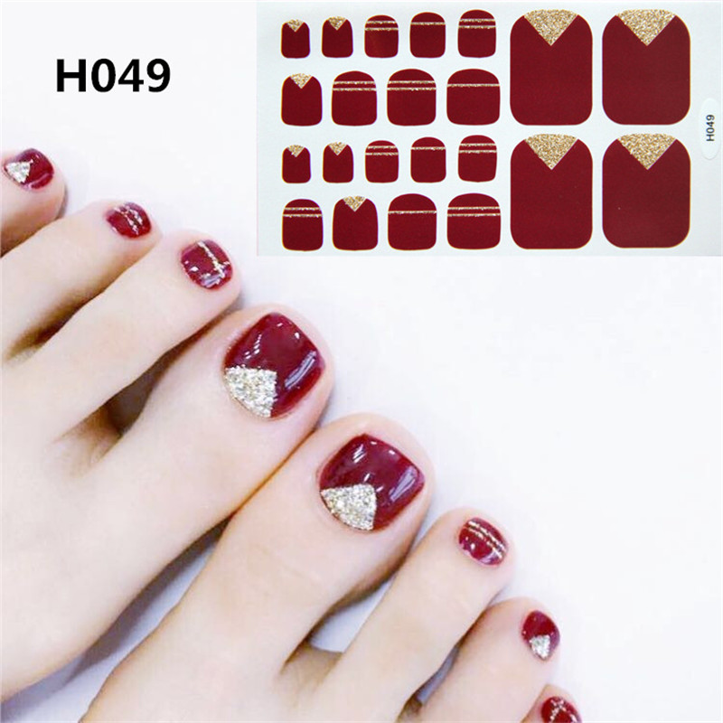 22tips/sheet Fashion Full Cover Nail Polish Wraps Adhesive  Stickers Art Decorations Manicure Tools Toe Sticker