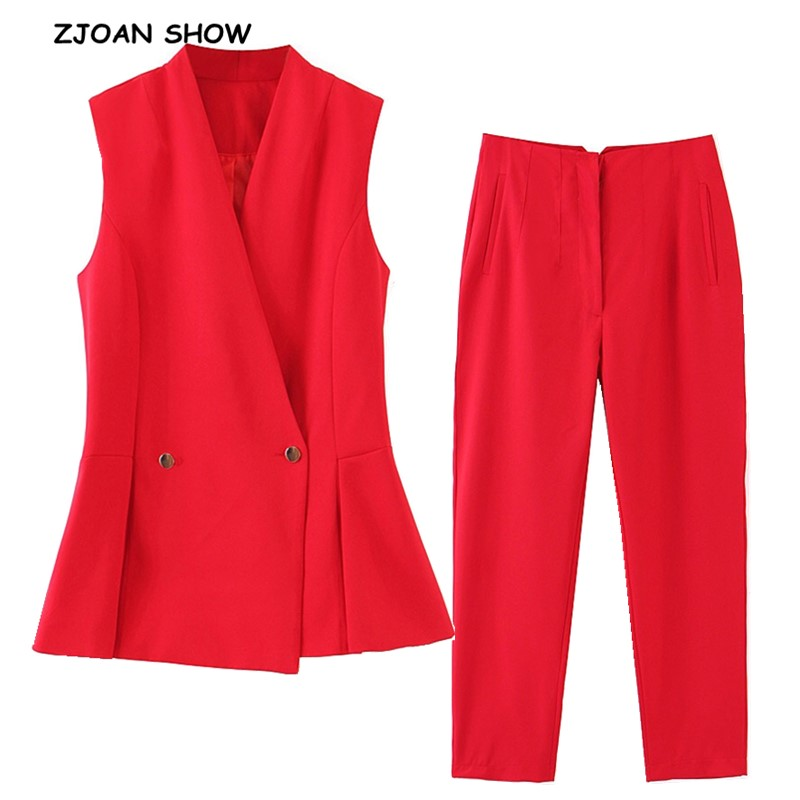 2019 Stylish Red Double-breasted Button Women Sleeveless Blazer Vest Mid Waist Full Length Pants Sleeveless Suits 2 Pieces Set