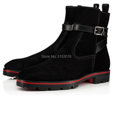 Qianruiti autumn winter Suede Men Boots Fashion Design Low-heeled Ankle Style Man Boots with platform hot sale 2019 chain design block heeled ankle boots