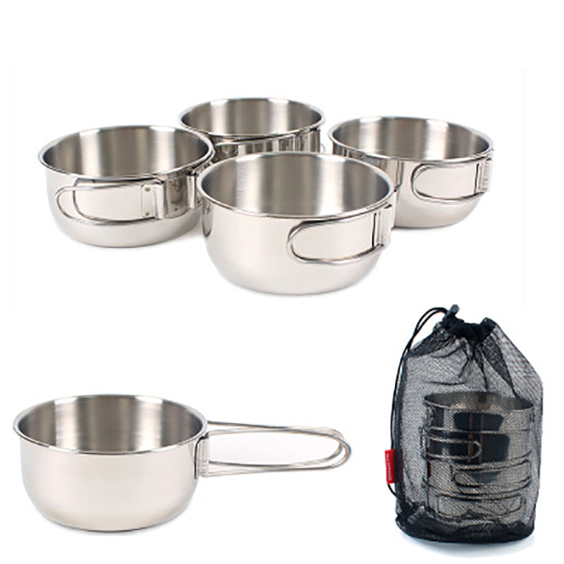Outdoor combination tableware stainless steel 4 piece set bowl camping hiking travel fishing picnic 500ml