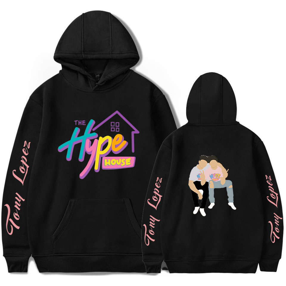 The Hype House Tony Lopez Hoodies Sweatshirt 2020 New Arrival Harajuku Streetwear Casual Women Hoodis Men Cool Hooded Full Print