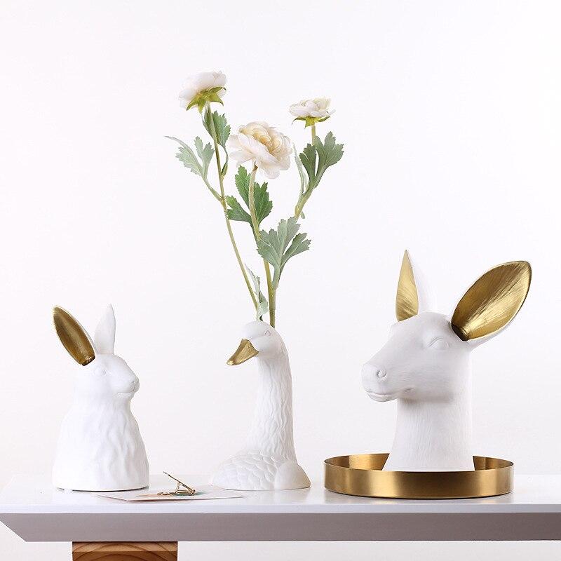 Light luxury ceramic rabbit head vase White Swan pots porcelain flower figurines hydroponic vases for weddings home decoration
