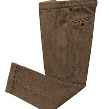 Повседневные мужские брюки, облегающие брюки с узором в елочку, шерстяные Твидовые костюмы, брюки со скрытой расширяемой талией для свадебной вечеринки