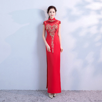 Red Floor Length Wedding Party Women Dress Elegant Banquet Long Qipao Female Slim Prom Cheongsam Wedding Gowns Vestido S XXXL