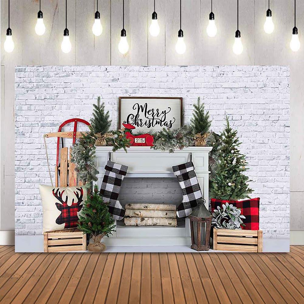 Фон для фотосъемки Рождество белый кирпич камин фон для фотостудии серая кирпичная стена Рождественская елка Фотофон Фон для фотосъёмки    АлиЭкспресс