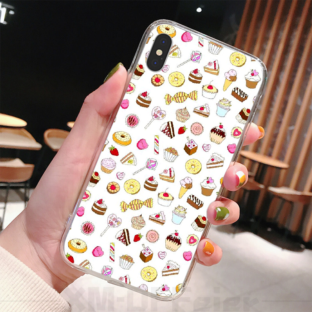 Offeier bolo donuts coração diy caso de telefone luxo para o iphone 6 6s plus 7 8 mais x xs xr xs max 11 11 pro 11 pro max capa