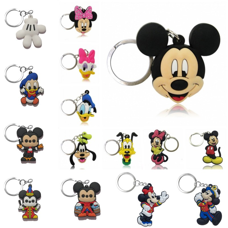 1pcs Mickey Cartoon PVC Keychain Minnie Key Ring Anime Mini Figure Key Chain Cute Charm Key Holder Fashion Trinket Kids Gift