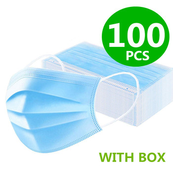 Medical Mask Disposable Face Mouth Mask Non-woven Filter Anti Medical Disposable Mask 3-Layers Protective Adult Blue Mask