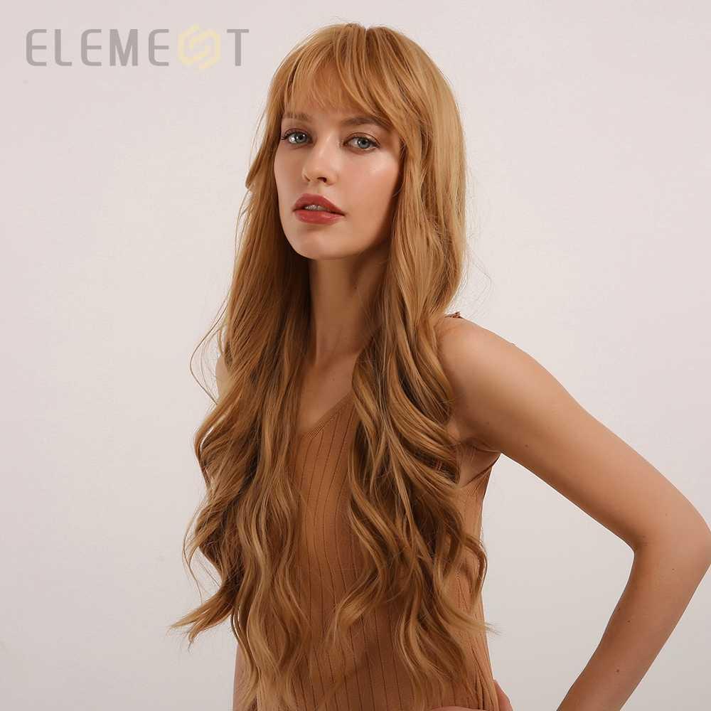 Element Hoge Temperatuur Fiber Lang Golvend Golden Blonde Partij Synthetische Pruiken Met Pony Voor Wit/Zwarte Vrouwen