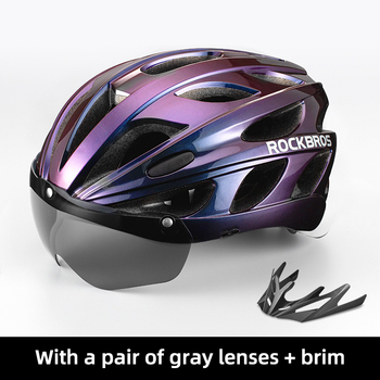 ROCKBROS Bicycle Helmet Men EPS Integrally-molded Breathable Cycling Helmet Men Women Goggles Lens Aero MTB Road Bike Helmet 9