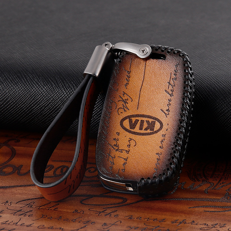 Genuine Leather  Car Key Case Coverfor Kia Soul Stinger Stonic Carens Rondo Carnival Sedona Mohave Borrego Sorento Sportage Niro